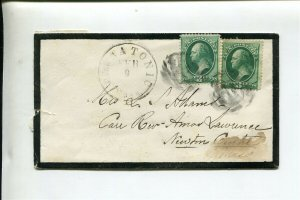 1880s MOURNING COVER - Death Notice with 3c Bank Notes