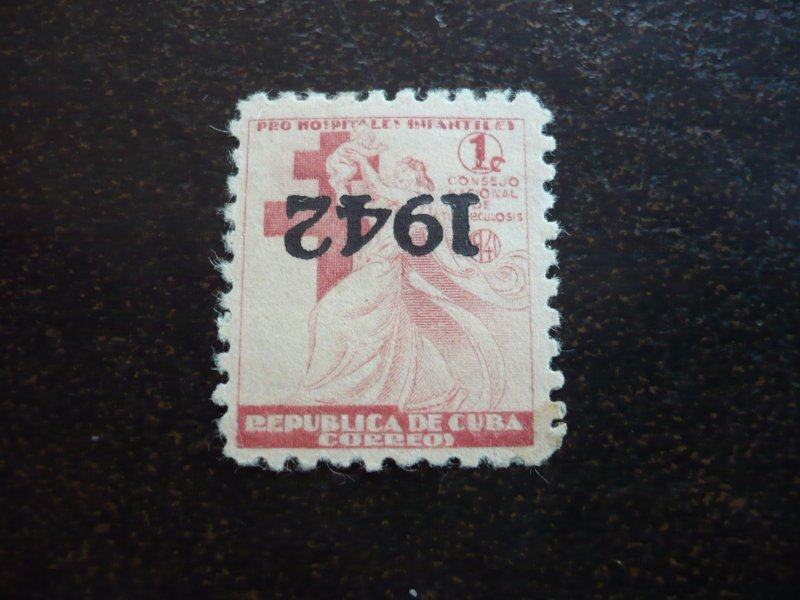 Stamps - Cuba - Scott# RA7a - Mint Hinged single Inverted Overprinted Stamp 1942