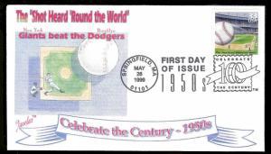 UNITED STATES FDC 33¢ Shot Heard Round the World Baseball 1999 Juvelar
