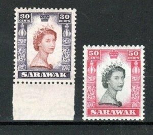 Sarawak 1955-59 30c and 50c Queen Elizabeth 11 MLH
