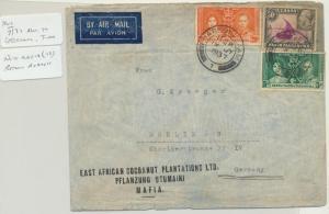 KUT (MAFIA) TO GERMANY 1937 AIR COVER,DAR CDS, GV & GV1 75c RATE (SEE BELOW)