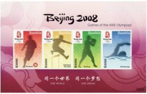Zambia - Beijing Olympics - 4 Stamp  Sheet ZAM0803