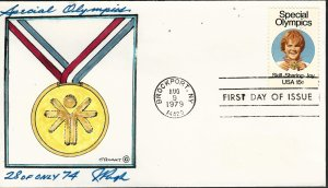 Rare Pugh Designed and Painted Special Olympics FDC -only 74 created...