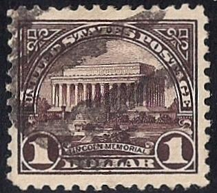571 1 Dollar Lincoln Memorial Stamp used EGRADED XF 93 XXF