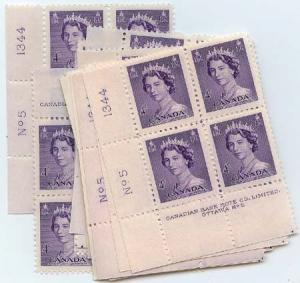 Canada - 1953 4c QE Karsh Plate 4 & 5 Blocks mint #328