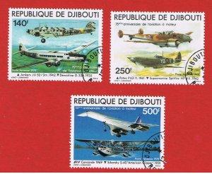 Djibouti #C124-C126  VF used  Air Post   Free S/H
