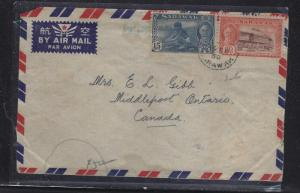 SARAWAK POSTAL HISTORY (PP1509B) 1954 BINTULU KGVI 15C+20C A/M TO CANADA
