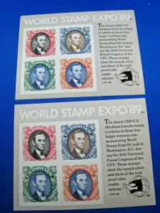 US SCOTT # 2433  -  LOT OF 2 WORLD STAMP EXPO '89 S/S   MNH      (wr)