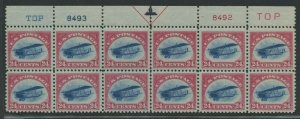#C3 VF OG XLH TOP PLATE # BLOCK OF 12 FRESH COLORS & CHOICE CENTERING WLM9031