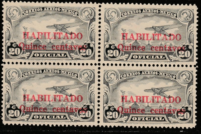 MEXICO CO16, 15¢ on 20¢ HABILITADO OFFICIAL AIR, BLK OF 4 UNUSED, NG. VF. (22)