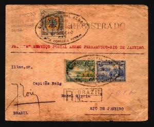 Brazil 1925 Registered Airmail Cover w/ Better - Z19391