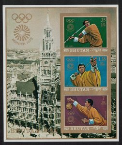 Bhutan Archery Basketball Summer Olympic Game Munich MS Imperf MI#Block 51B