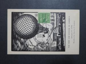 US 1950 Balloon Mail Service Commem Card / Special Cancel - Z8791