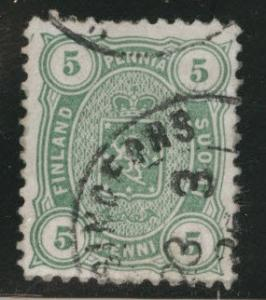 FINLAND SUOMI Scott 31a  perf 12.5 1885  yl grn stamp CV$1