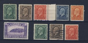 9x Canada Cameo Stamps #195-196-197-199-200-201-205-206-207 Guide Value= $127.50