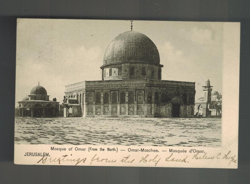 1906 Germany Post Office Jerusalem Palestine Postcard Cover to USA Omar Mosque