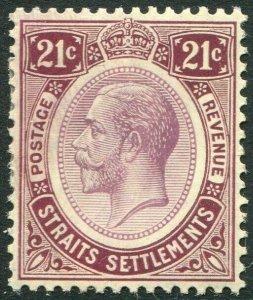 STRAITS SETTLEMENTS-1913 21c Dull & Bright Purple Sg 204 MOUNTED MINT V50198