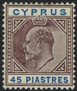 CYPRUS 1904 KEVII 45 PI WMK MULTI CROWN CA