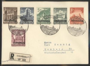 3rd Reich Germany 1941 WWII Occupied Luxemburg Luxembourg Registered Cov G101897
