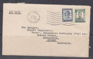SOUTHERN RHODESIA, 1947 Airmail cover, Salisbury to Australia, KGVI 1s., QE 3d.