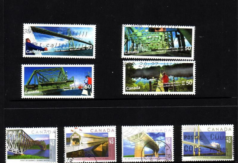 CANADA SET OF BRIDGES   (5) USED STAMPS  LOT#112