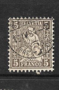 SWITZERLAND 1862-64  5c   HELVETIA    FU   SG 54c