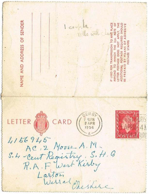 GREAT BRITAIN 1956 - LETTER CARD, PREPAID, DERBY CANCELLATION, CHESHIRE ADDRESS