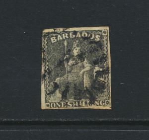 BARBADOS 1858, 1sh BLACK, USED SG12a CAT£75 $98 (SEE BELOW)