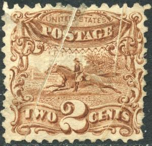 #113 VAR. POST HORSE & RIDER WITH PRE-PRINT PAPER FOLD ERROR USED BN9869