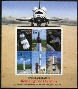 BURKINA FASO SPACE EXPLORATION REACHING THE STARS SPACE SHUTTLE SHEET MINT NH