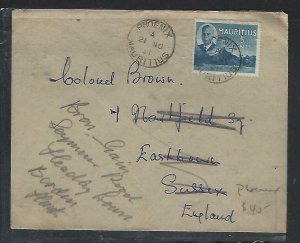 MAURITIUS  COVER (PP0111B) 1951  KGVI 5CCOVER PHOENIX TO ENGLAND