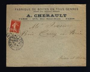 FRANCE - 1907 - Yv.138 sur pli FABRIQUE DE BOÎTES EN TOUS GENRE de PARIS (0332)