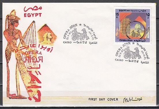 Egypt, Scott cat. 1348. Opera Aida, Music issue on a First day cover
