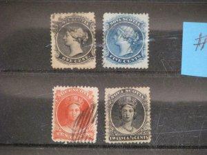 CANADA, NOVA SCOTIA, SCOTT#`S 8, 10, 12 & 13 USED