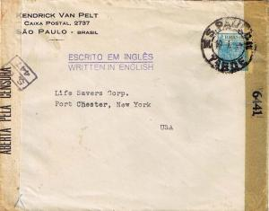 Brazil 400R Agriculture 1944 S. Paulo, Tarde to Port Chester, N.Y.  Brazil an...