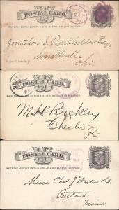 Scott UX5 (3), Purple, Postal Cards