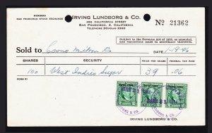 US SCOTT #RD164 2C STOCK TRANSFER STAMPS SERIES 1944 ON BROKERAGE RECEIPT