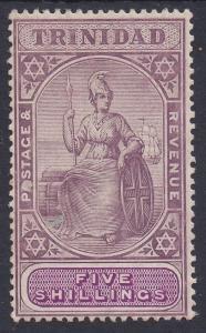 TRINIDAD 1904 BRITANNIA 5/- WMK MULTI CROWN CA