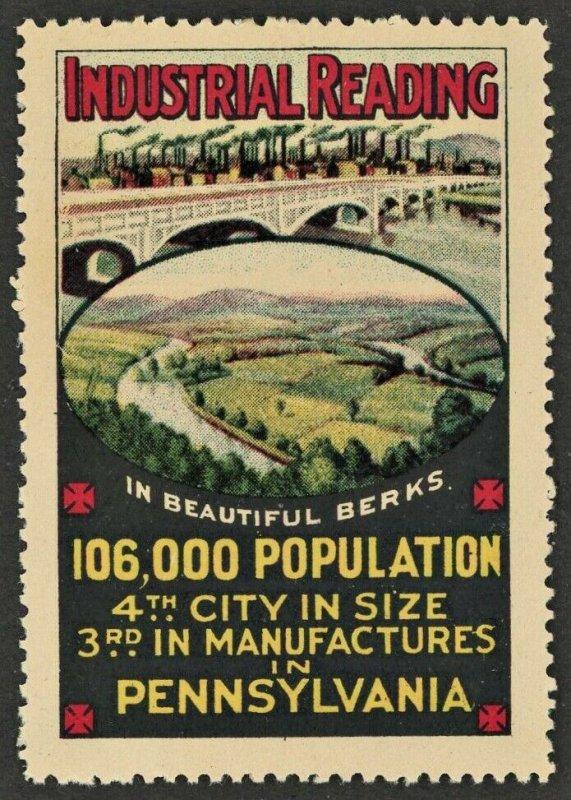 1910s READING PENNSYLVANIA  USA Advertising Poster Stamp NH