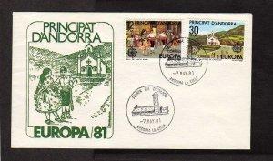Andorra Principat D'Andorra Europa 1981 Stamp Cover First Day FDC Dancers