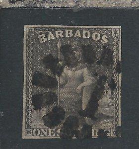 BARBADOS 1858 1s BLACK FU SG 12a CAT £75