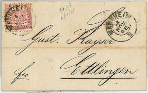 GERMANY \  BADEN - Postal History : COVER from MANHEIM to ETTINGEN 1867
