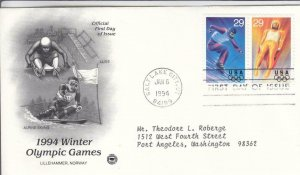 1994, Winter Olympic Games-Luge, Alpine Skiing, PCS, FDC (D15476)