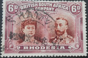 Rhodesia Double Head 6d p15 with SHAMVA with blank (DC) postmark