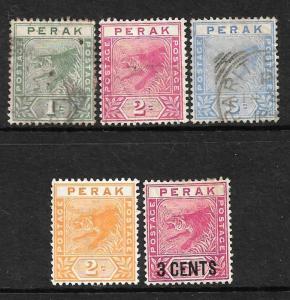 PERAK  1892-95  TIGER  SET 5  M&U  SG 61/65