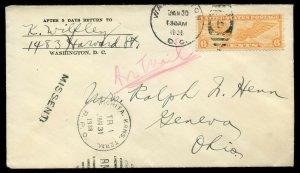 U.S. Scott C19 on 1938 Air Mail Cover Missent Via Wichita Kansas RPO