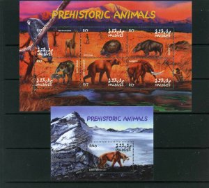 MALDIVES 2002 Sc#2633-2634 PREHISTORIC ANIMALS SHEET OF 6 STAMPS & S/S MNH