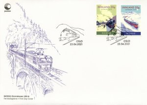 Norway Trains Stamps 2021 FDC Dovre Railway Line Centenary Railways 2v S/A Set