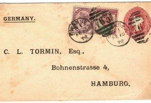 GB WALES Cover Swansea Uprated Stationery Germany Hamburg 1892{samwells}89a.2