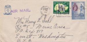 Singapore 10c National Day and $1 QEII Sir Stamford Raffles Statue 1961 Singa...
